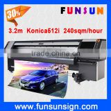 Large format banner printer Funsunjet FS 3204N/3208N fast speed with 4 or 8 konica 512i heads