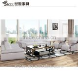 Living room italy leather sofa and carved wood and leather sofa sets