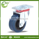 Working speed 4km/h industrial rubber caster with plate , heavy duty blue rubber caster wheel , Caster wheel