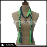 Wholesale Jewel Beads Pendant Scarf Necklace