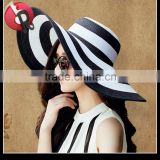 Straw Fashion Women Hats Summer Wide Brim Floppy Beach Hat Sun Cap-White X Navy, white X black