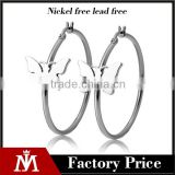 Wholesale Europe Brand Jewelry Stainless Steel SIlver Polishing Butterfly Hoop Earring Big Hook