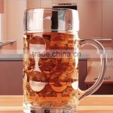 One Liter Crystal Lead Free German Style Extra Large Glass Beer Stein Super Mug, 34 Ounce