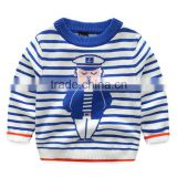 Wholesale boys blue white striped knitted sweaters with jacquard patterns
