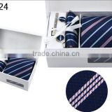 WL-24 100% polyester new pattern tie set with cufflink hanky