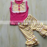 QL-331 yellow and white stripe ruffle shorts and sleeveless top with bib baby clothing set 2016