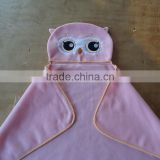 pink animal head owl shape embroidery promotional make up promotion gift girls polar fleece hooded blanket