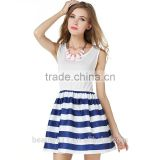 summer women clothes balloon style sexy dresses woman ball gown cotton fashion stripe party dress SD71