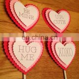 Newest Custom Heart Shaped Paper Cupcake Topper Wedding Cake Decor