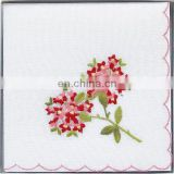 Lady Flowers Embroidered Cotton Handkerchief