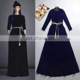 New Arrival Winter Fashion Maxi Dress Royal Blue With Pocket Turkey Islamic Women Party Wedding Velvet Dress