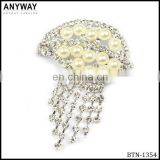 Metal wedding crystal rhinestone crown button invitation button with chain tassel