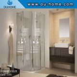 Glass shower cabin with pattern explosion-proof film