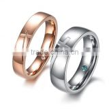 The cross lovers rings Inner micro crystal rhineston set auger titanium steel couples rings for gifts