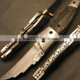 "udk f94"" custom handmade Damascus folding knife / pocket knife with colored Camel bone Handle and Damascus steel bolster"