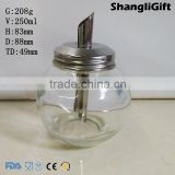 Ball Shaped Glass Jar 250ml Honey Jars With Special Matel Lids