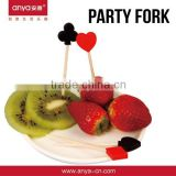 D598 Popular poker shaped design wholesale birthday party supplies party supply fruit fork set with plastic fruit pick