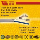 twin and earth PVC inculated 60227 IEC CCC standard pure cooper flat sheath electric wire