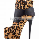 Ladies16cm Leopard Colour Platform High Heel Zipper Ankle Boots Woman High Heel Shoes Ladies shoes 2016