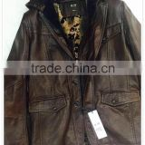 Man PU leather jacket suit for spring or winter Garment stock lot with cheap price - 1036
