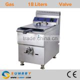 Commercial deep fryer machine one tank one basket gas fryers with valve and electric deep fryer available (SY-TF118G SUNRRY)