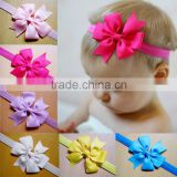 ODM custom design muti-colors stocked elastic hair tie nylon grosgrain bow headband fabric kids hair baby headband