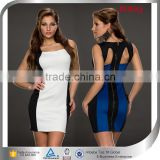 2015 Ladies Hit Color Club Dress,Zip-up Sexy Bodycon Dresses