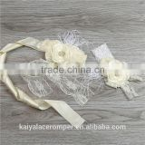 Girls new flower cream headband & sash,factory Wholesale,new fashion Baby Photo Prop
