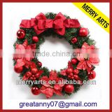 Zhejiang wholsale decorative red artificial boxwood wreath easel christmas decoration wreaths cheap