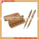 Promotional custom logo click bamboo ball point pen with metal clip and custom box                                                                         Quality Choice
