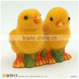 Ceramic Animals Garden Decoration Yellow Flocking Chickens