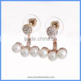 Wholesale New Women's Cheap Trendy Jewelry Gold Plated Imitation Faux Pearl Metal Crystal Rhinestone Pave Stud Earrings FSE-003