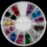 3D DIY Bead Decoration Colorful Shiny Rhinestone Rose Flowers Alloy Nail Art Tools for Glitter Manicure Tools