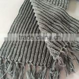 Hot Popular Fat Acrylic Chunky Rib Knitting Winter Tassel Scarf