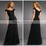 Off the Shoulder Full Length Chiffon Black Evening Dress HA-159
