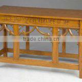 Antique solid wood Opened communion table in cherry finish,oak wooden church table,church or classroom furniture