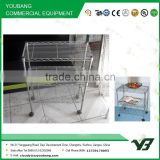 2015 hot sell NSF 50KGS 30x14 inch 3 layer silver powder light duty home use metal storage shelf with wheels (YB-WS028)