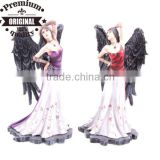 polyresin figurine dark angel standing with white dress