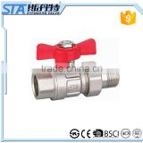 ART.1032 Full port NPT male threaded butterfly handle forged brass stem ball body 1/2 3/4 1 inch brass ball valve cw617n DN25