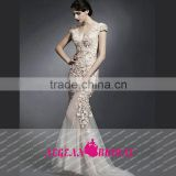 HT64 Hot Sale Sexy V Neck Backless Prom Dress 2015 Cap Sleeve Beaded Bust Applique Floor Length Mermaid Vestido Baile