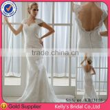Real Sample Open Back Lace Appliqued Cap Sleeve Sexy Wedding Bridesmaid Dresses