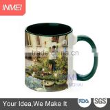 customized logo ceramic mugs 11oz inner and handle color mug with high quality, dark green