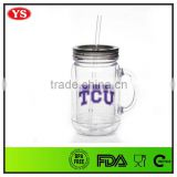 20oz clear double wall acrylic mason jar tumbler with handle and straw