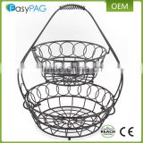 Wholesale China manufacture black paint 2 tier metal wire empty fruit basket
