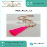 Long Beaded Neon Pink Tassel Necklace Wooden Beads Tassel Necklace