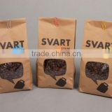nice design kraft paper pouch for coffee bean and tea packaging/plastic lined paper bags