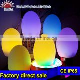 Wireless 16 Colors changing plastic bright colored egg shape led ball light for living room
