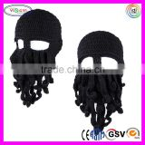 C023 Unisex Knit Beanie Stubble Beard Handmade Luxury Quality Black Beard Mask