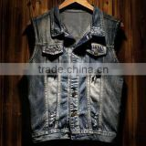 Male quilted Vest, men cotton sleeveless mens denim padded waistcoats for men