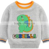 Baby Boys Fashion High Quality Fleece Hoodie Emboridery Cartoon Dinosaur Cute Sweatshirt